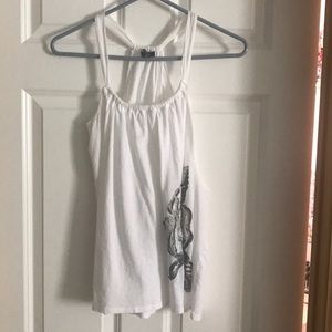 Flowy white Express tank with flower